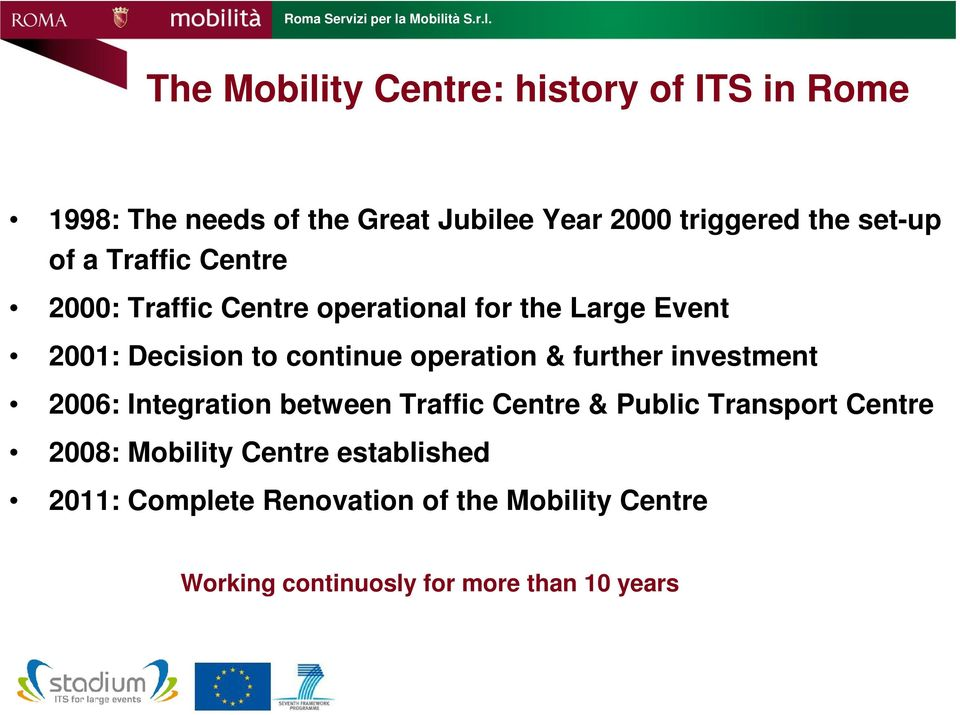 operation & further investment 2006: Integration between Traffic Centre & Public Transport Centre 2008: