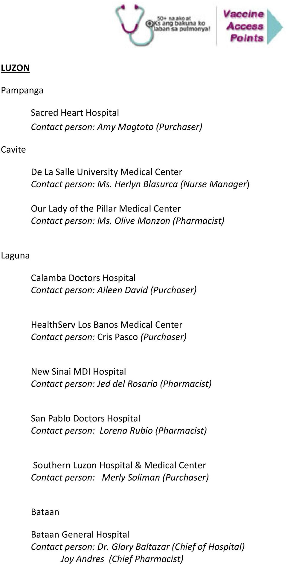 Olive Monzon (Pharmacist) Laguna Calamba Doctors Hospital Contact person: Aileen David (Purchaser) HealthServ Los Banos Medical Center Contact person: Cris Pasco (Purchaser) New Sinai