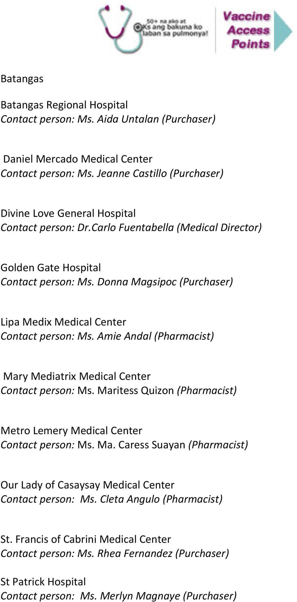 Donna Magsipoc (Purchaser) Lipa Medix Medical Center Contact person: Ms. Amie Andal (Pharmacist) Mary Mediatrix Medical Center Contact person: Ms.