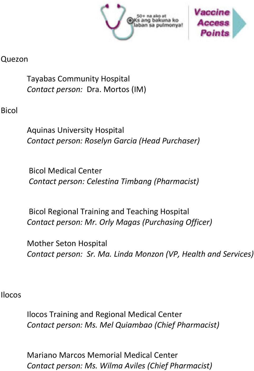 (Pharmacist) Bicol Regional Training and Teaching Hospital Contact person: Mr.