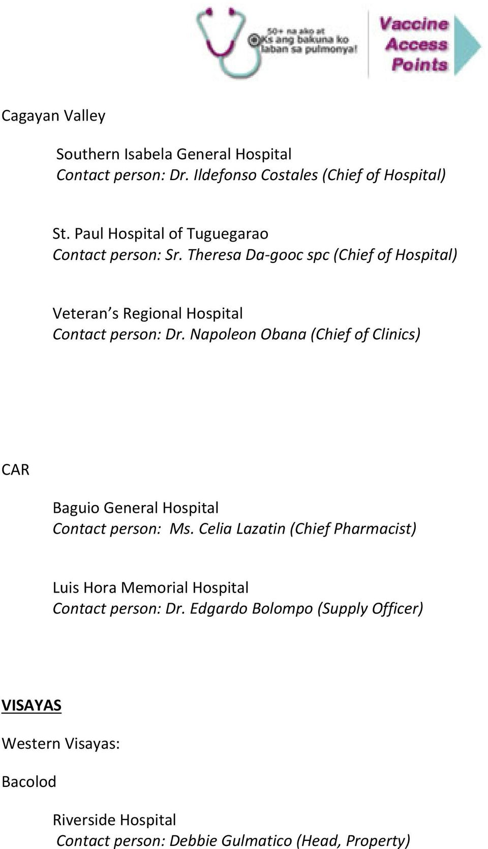 Napoleon Obana (Chief of Clinics) CAR Baguio General Hospital Contact person: Ms.