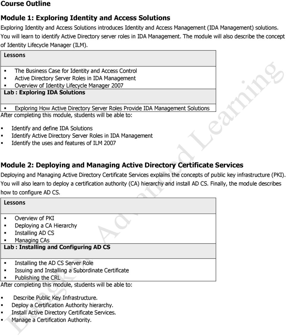 The Business Case for Identity and Access Control Active Directory Server Roles in IDA Management Overview of Identity Lifecycle Manager 2007 Lab : Exploring IDA Solutions Exploring How Active