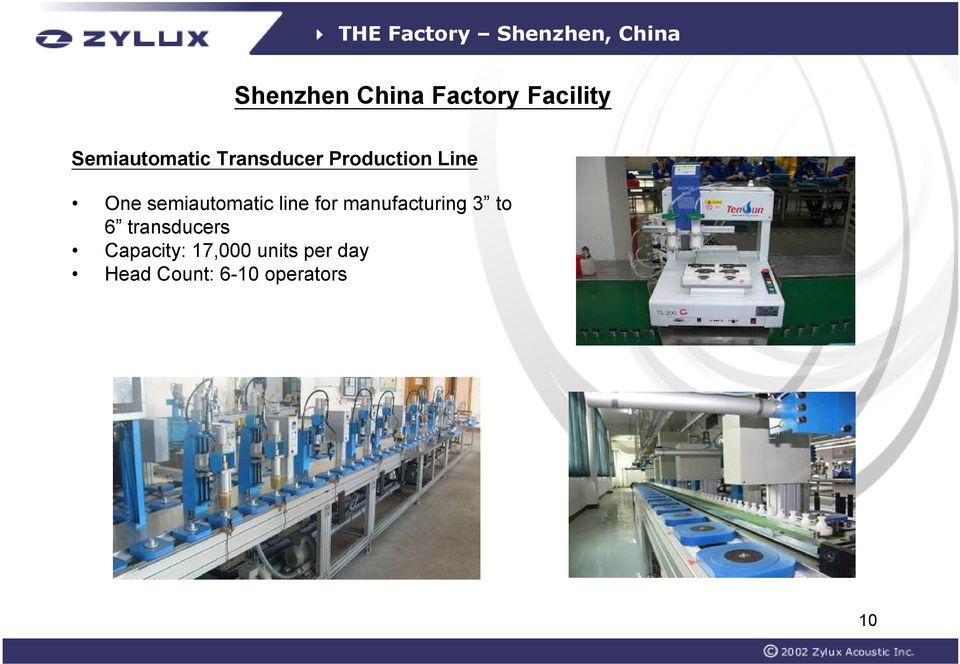 semiautomatic line for manufacturing 3 to 6 transducers
