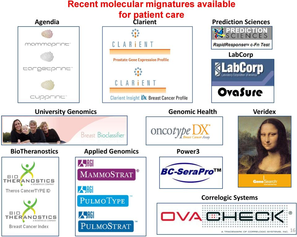 OvaSure University Genomics Genomic Health Veridex
