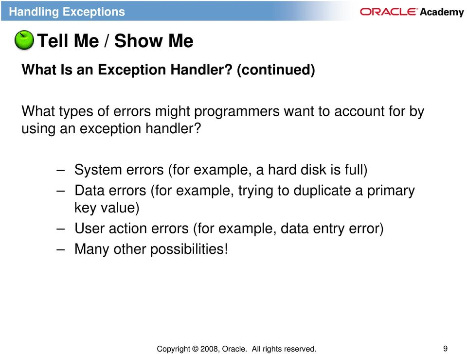 exception handler?
