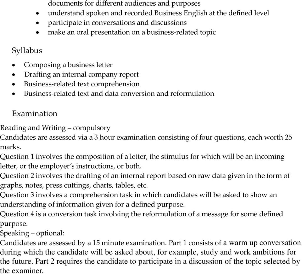 Writing compulsory Candidates are assessed via a 3 hour examination consisting of four questions, each worth 25 marks.