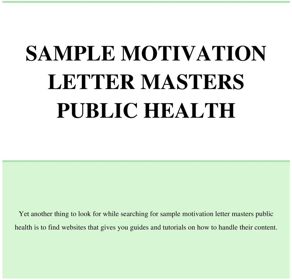 motivation letter masters public health is to find