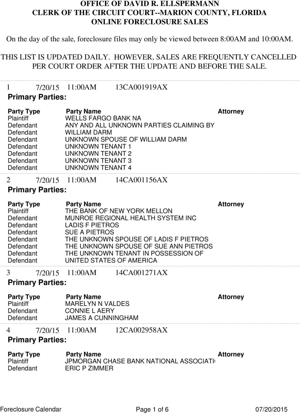 1 11:00AM 13CA001919AX WELLS FARGO BANK NA Defendant WILLIAM DARM Defendant UNKNOWN SPOUSE OF WILLIAM DARM Defendant UNKNOWN TENANT 1 Defendant UNKNOWN TENANT 2 Defendant UNKNOWN TENANT 3 Defendant