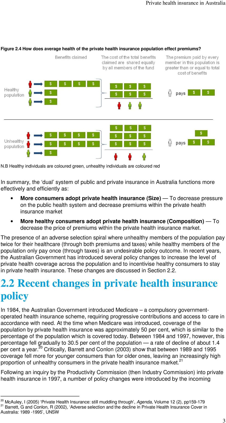 as: More consumers adopt private health insurance (Size) To decrease pressure on the public health system and decrease premiums within the private health insurance market More healthy consumers adopt