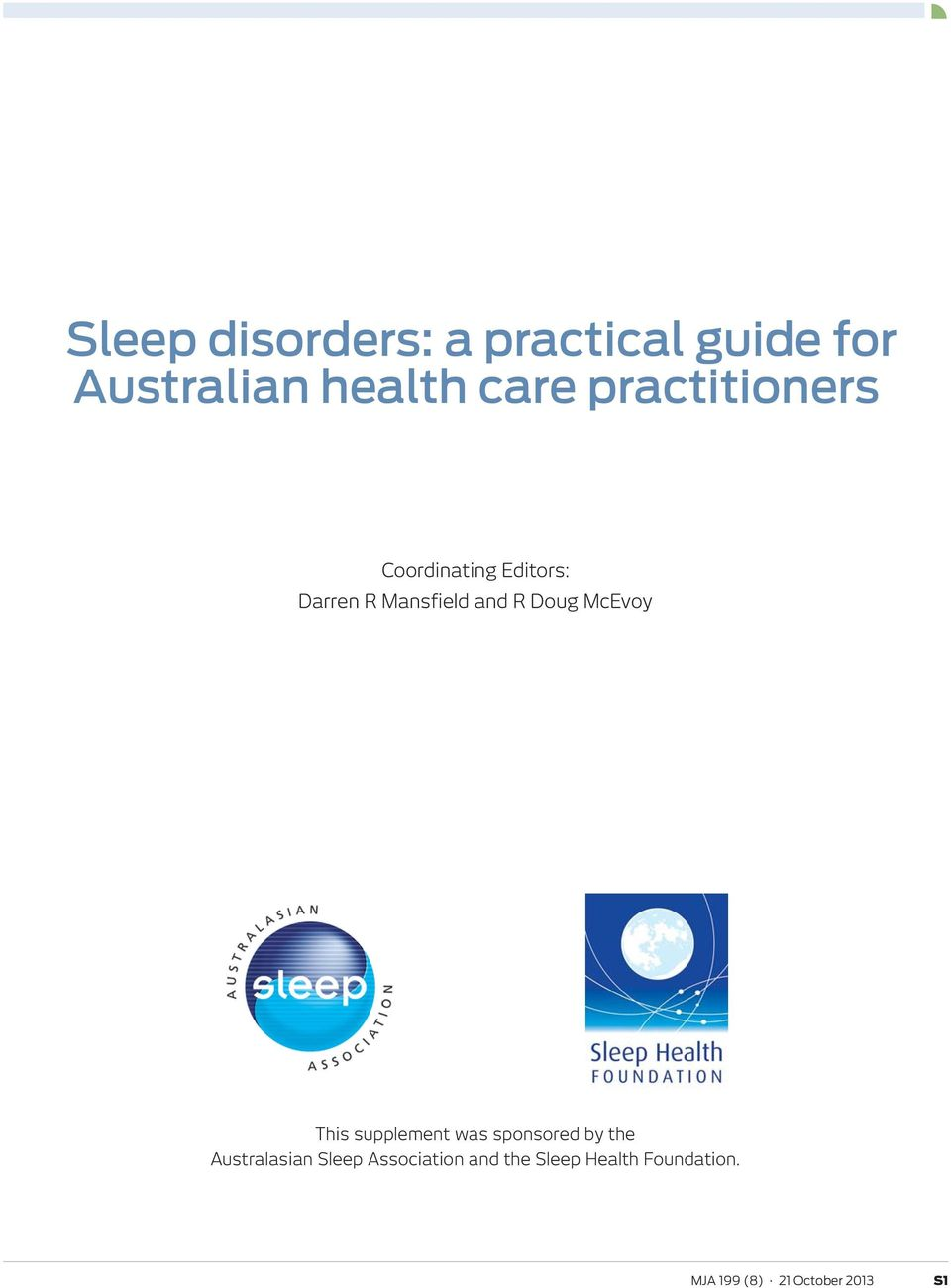 au Supplement Sleep disorders: a practical guide for Australian health care practitioners Coordinating Editors: