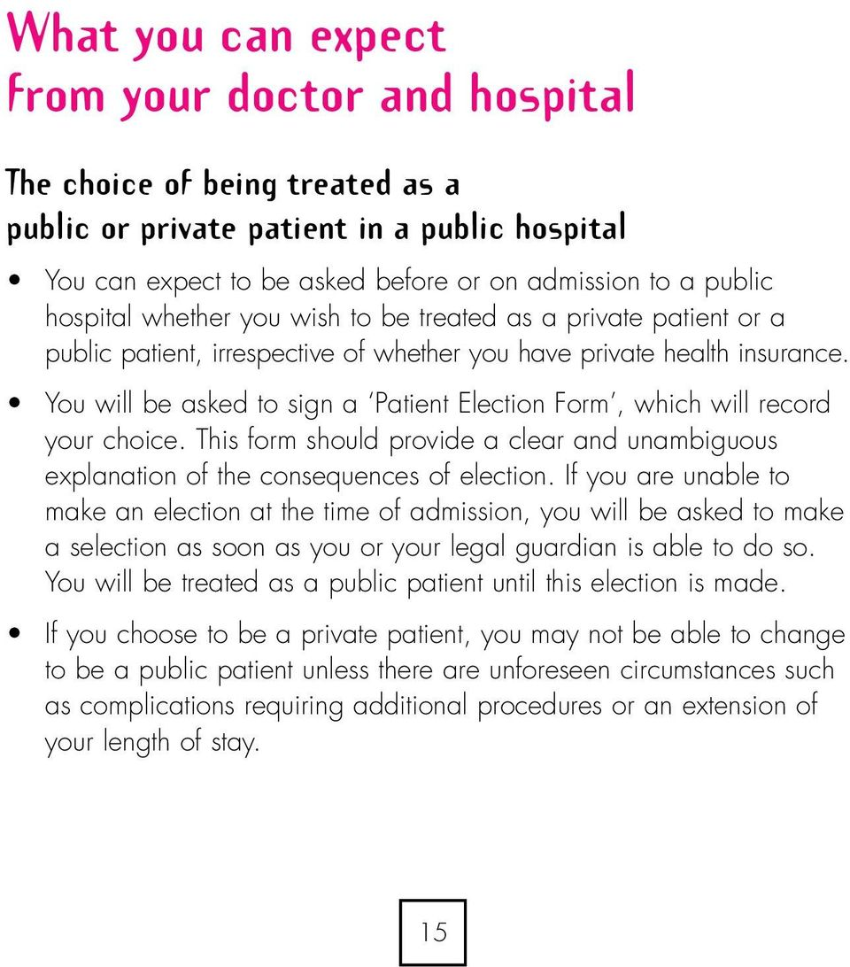 You will be asked to sign a Patient Election Form, which will record your choice. This form should provide a clear and unambiguous explanation of the consequences of election.