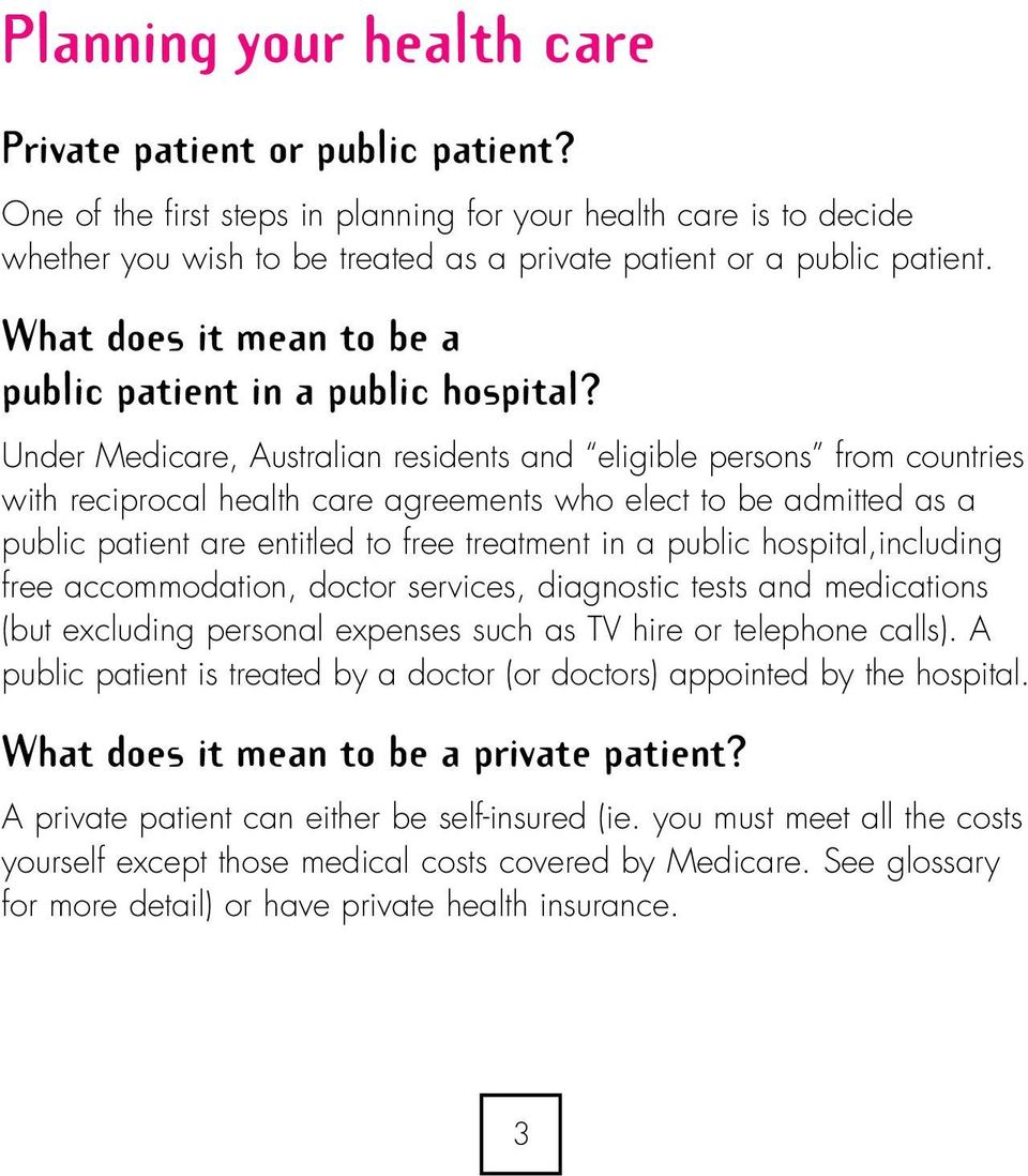 What does it mean to be a public patient in a public hospital?