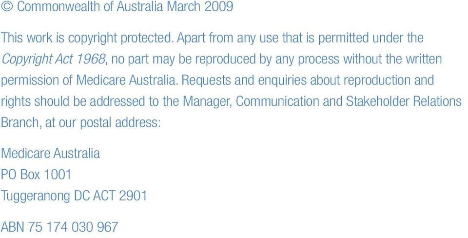 the written permission of Medicare Australia.
