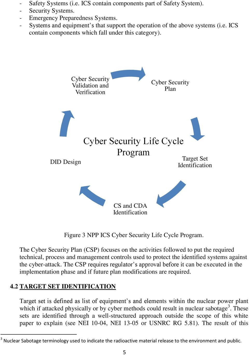 Cyber Security Validation and Verification Cyber Security Plan DID Design Cyber Security Life Cycle Program Target Set Identification CS and CDA Identification Figure 3 NPP ICS Cyber Security Life