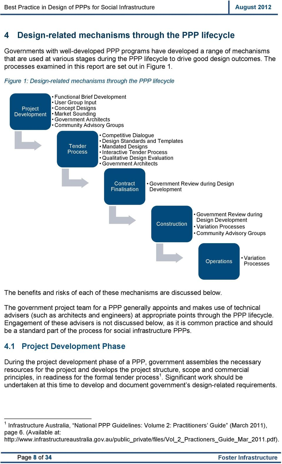 Figure 1: Design-related mechanisms through the PPP lifecycle Project Development Functional Brief Development User Group Input Concept Designs Market Sounding Government Architects Community