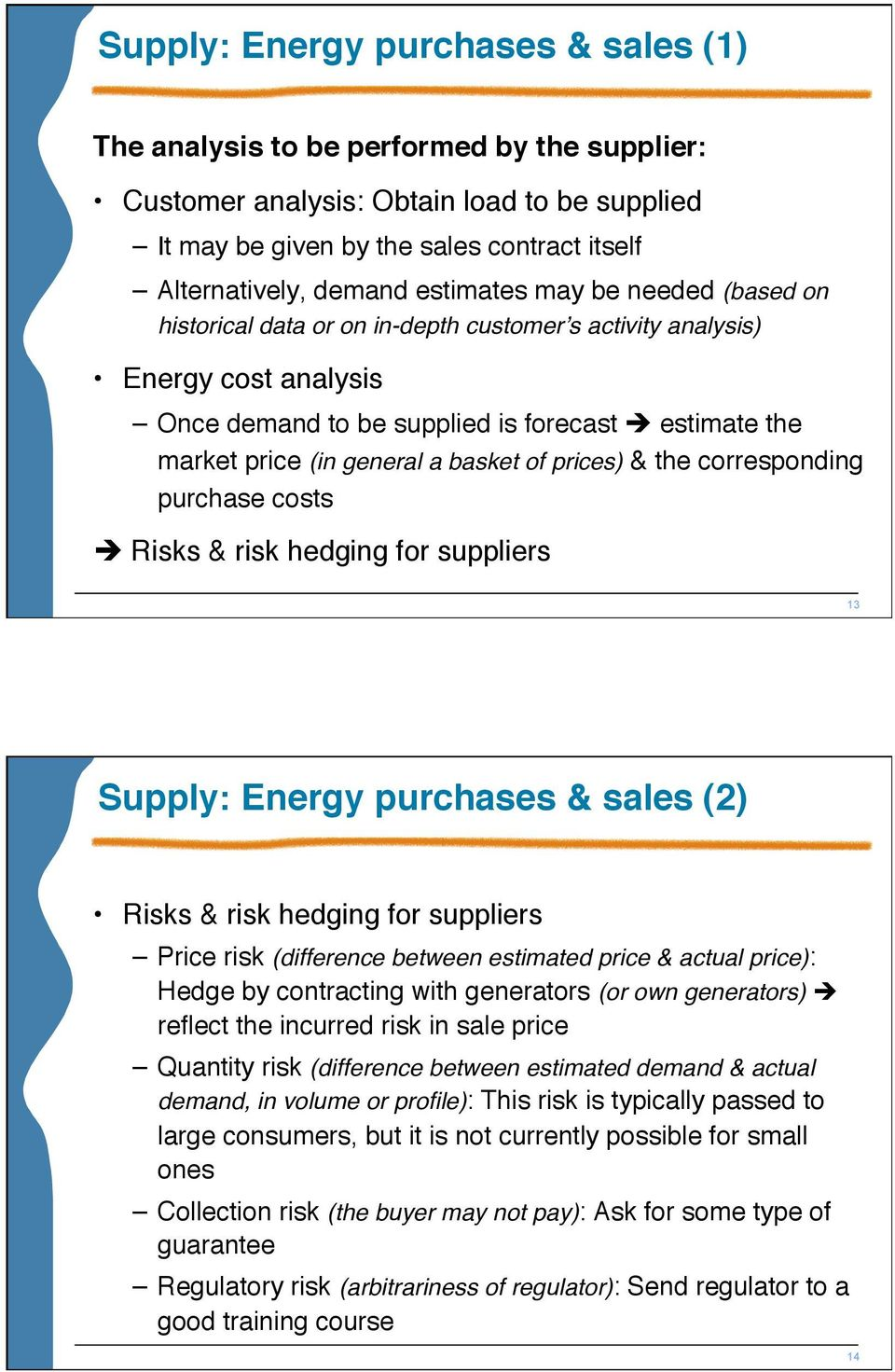 basket of prices) & the corresponding purchase costs Risks & risk hedging for suppliers 13 Supply: Energy purchases & sales (2) Risks & risk hedging for suppliers Price risk (difference between
