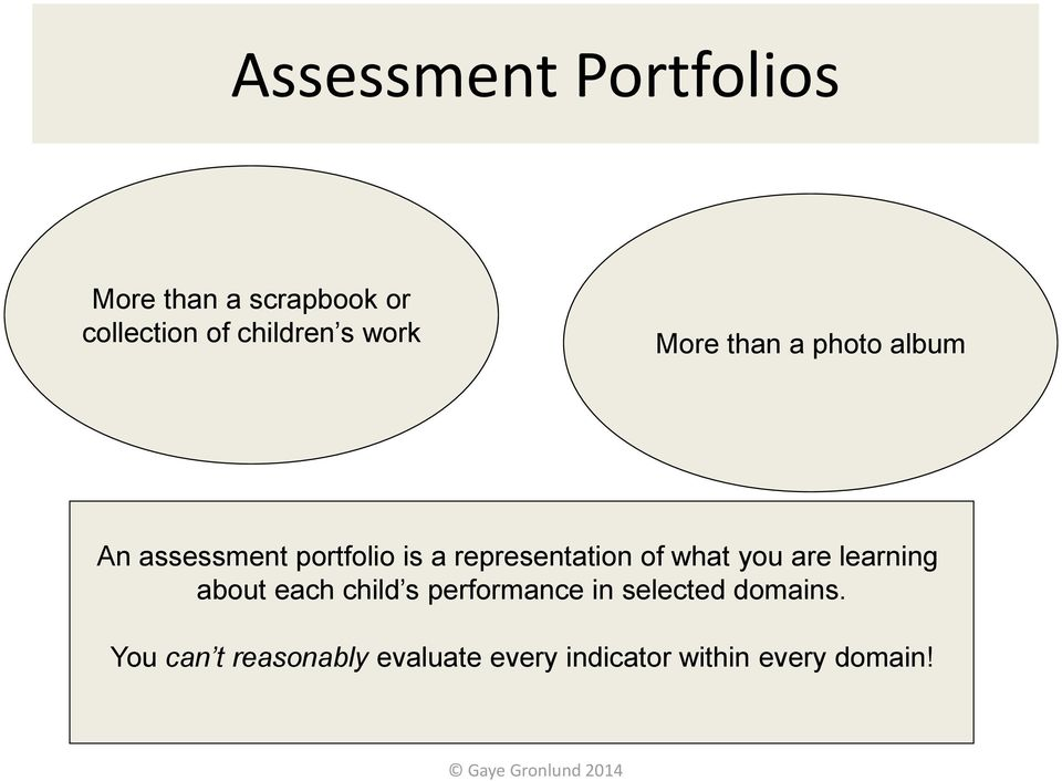representation of what you are learning about each child s performance