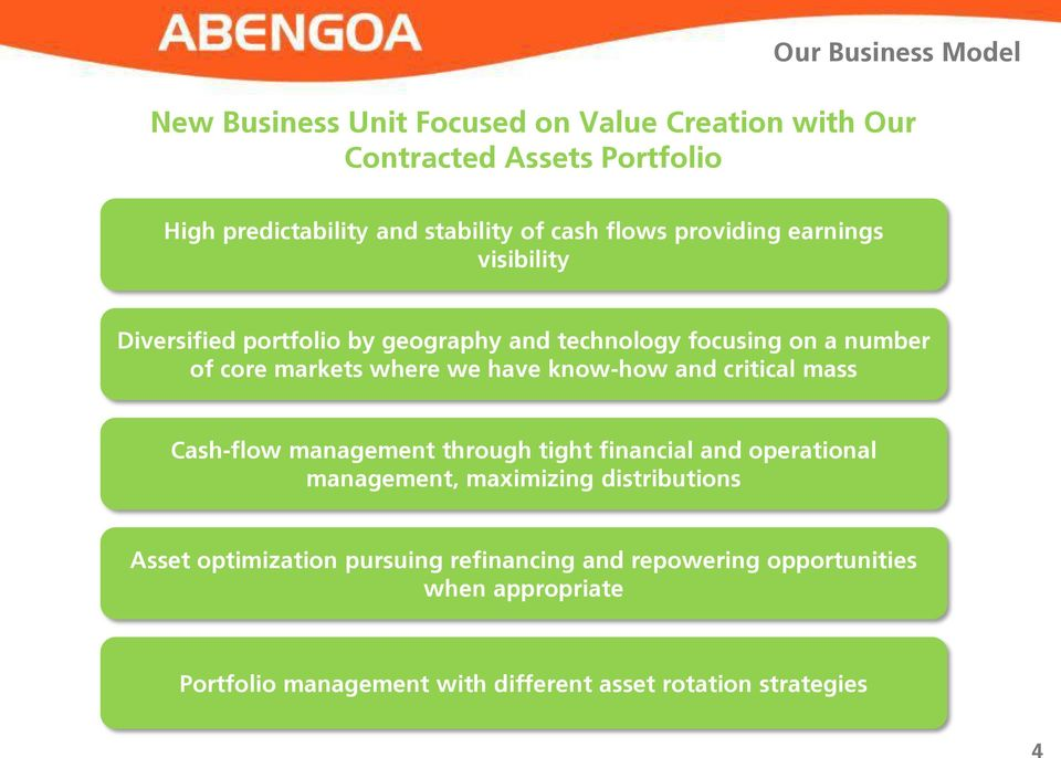 have know-how and critical mass Cash-flow management through tight financial and operational management, maximizing distributions Asset