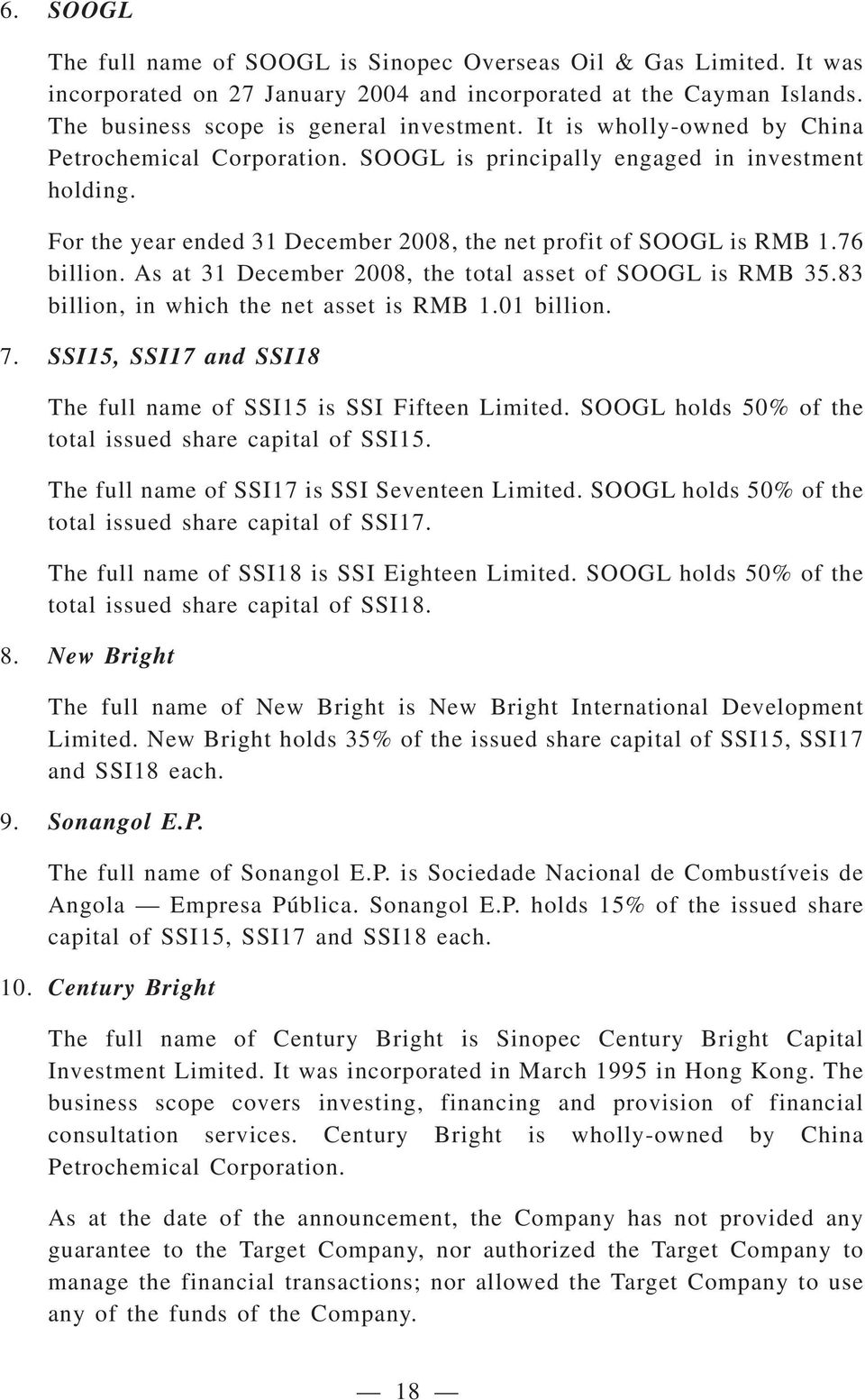 As at 31 December 2008, the total asset of SOOGL is RMB 35.83 billion, in which the net asset is RMB 1.01 billion. 7. SSI15, SSI17 and SSI18 The full name of SSI15 is SSI Fifteen Limited.