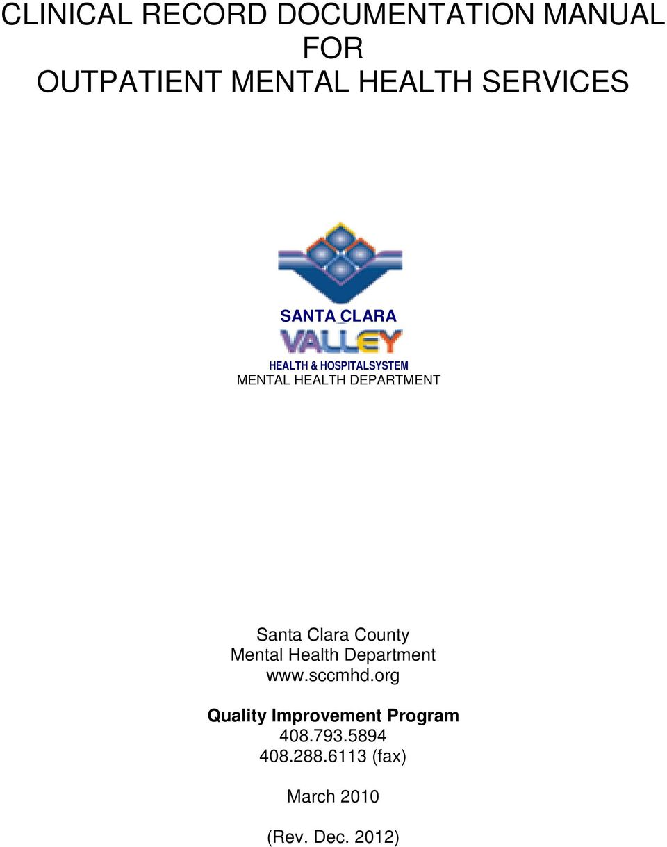 CLINICAL RECORD DOCUMENTATION MANUAL FOR OUTPATIENT MENTAL ...