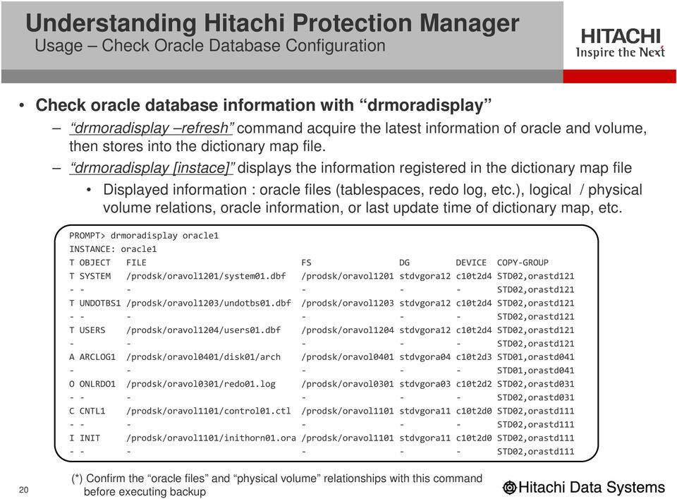 drmoradisplay [instace] displays the information registered in the dictionary map file Displayed information : oracle files (tablespaces, redo log, etc.