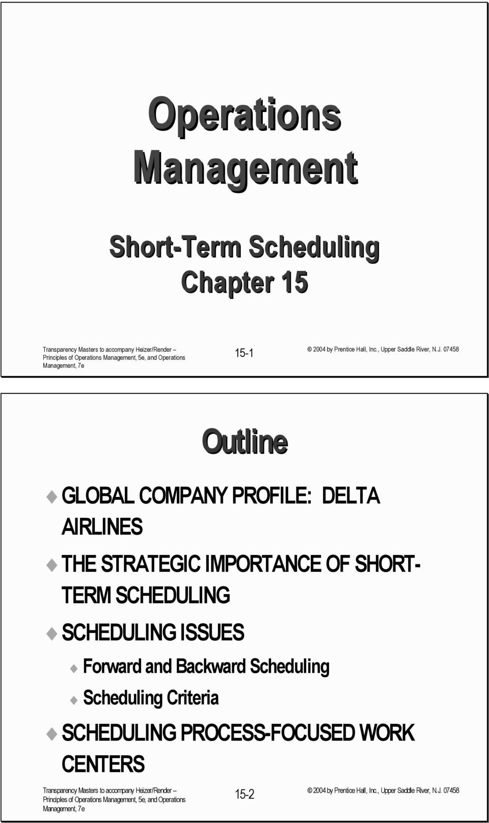 SHORT- TERM SCHEDULING SCHEDULING ISSUES Forward and ackward