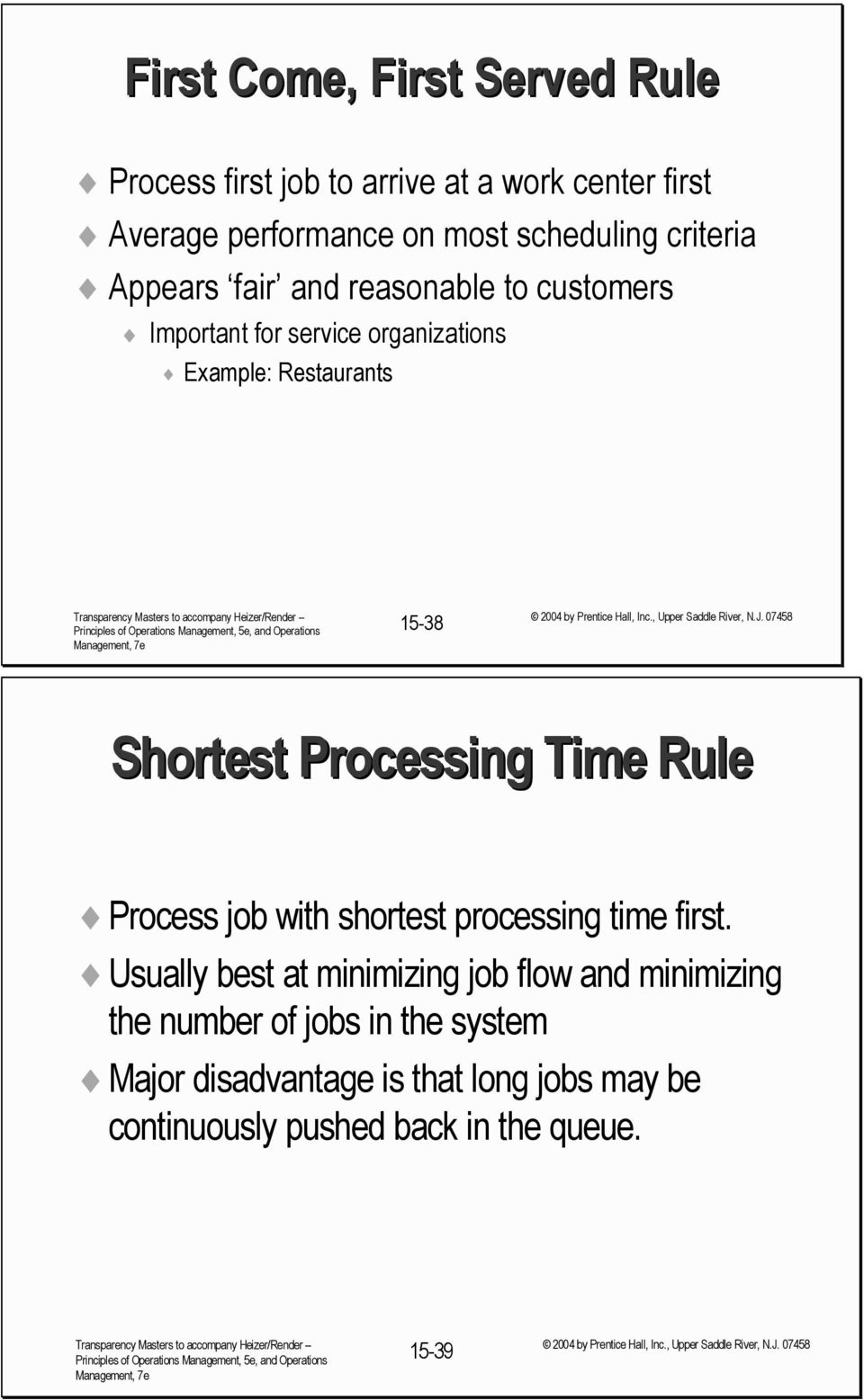 Shortest Processing Time Rule Process job with shortest processing time first.