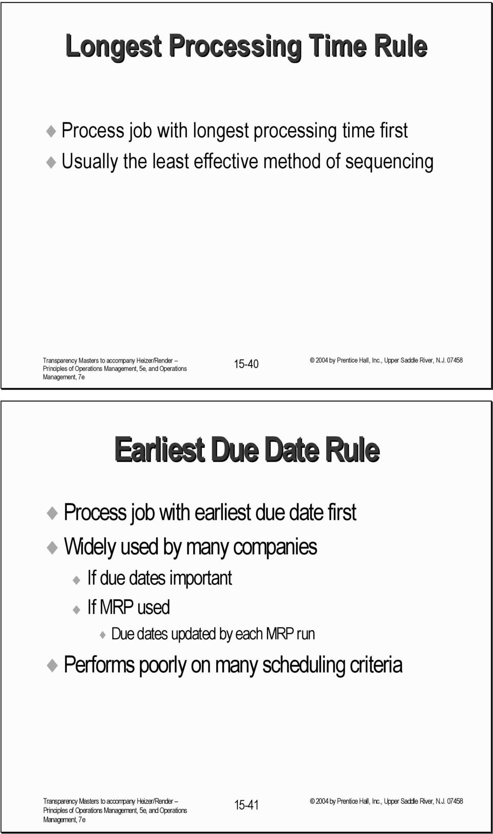 with earliest due date first Widely used by many companies If due dates important If