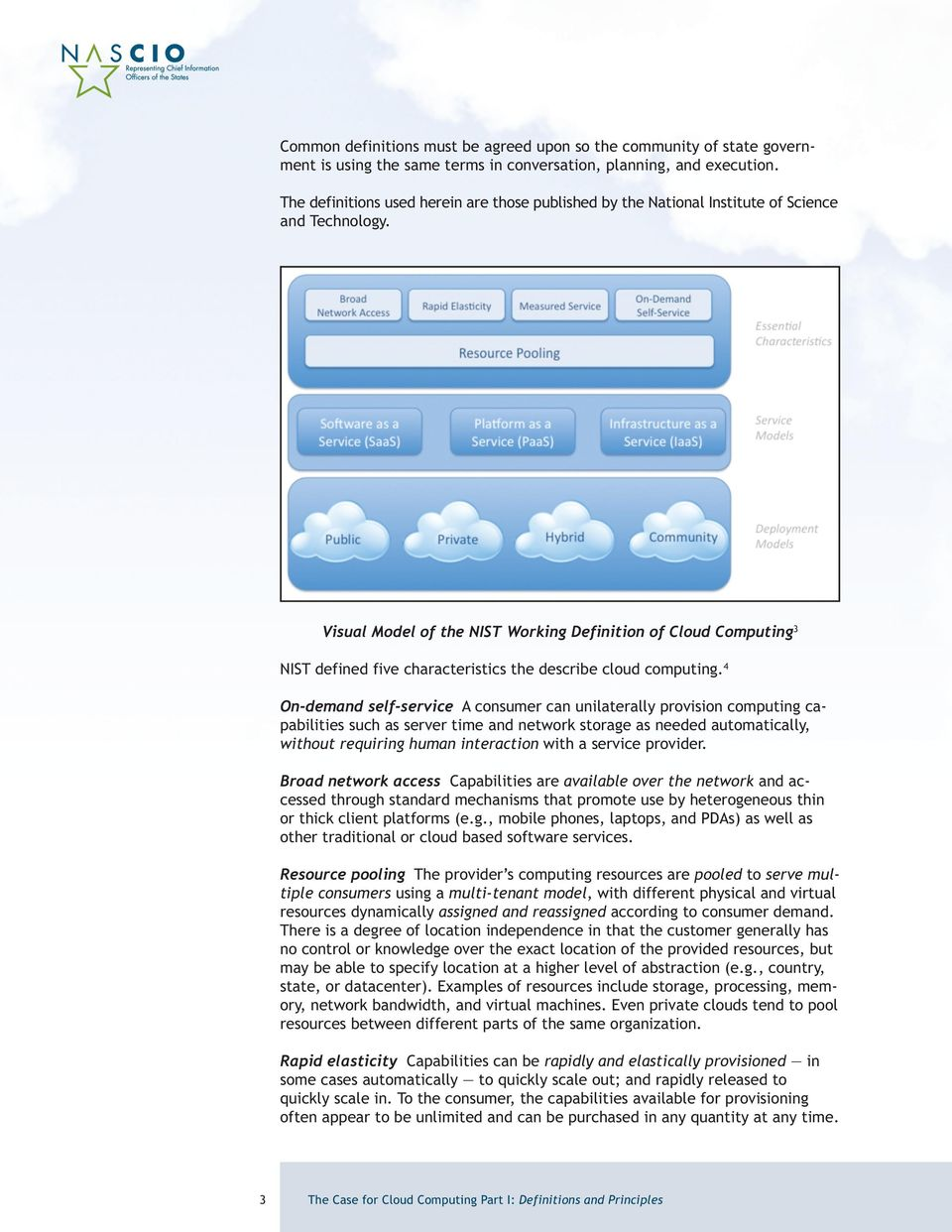 Visual Model of the NIST Working Definition of Cloud Computing 3 NIST defined five characteristics the describe cloud computing.