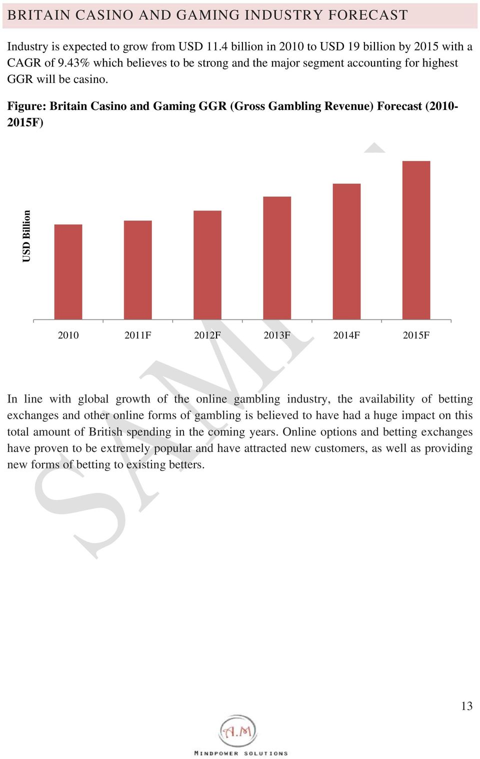 Figure: Britain Casino and Gaming GGR (Gross Gambling Revenue) Forecast (2010-2015F) USD Billion 2010 2011F 2012F 2013F 2014F 2015F In line with global growth of the online gambling industry,