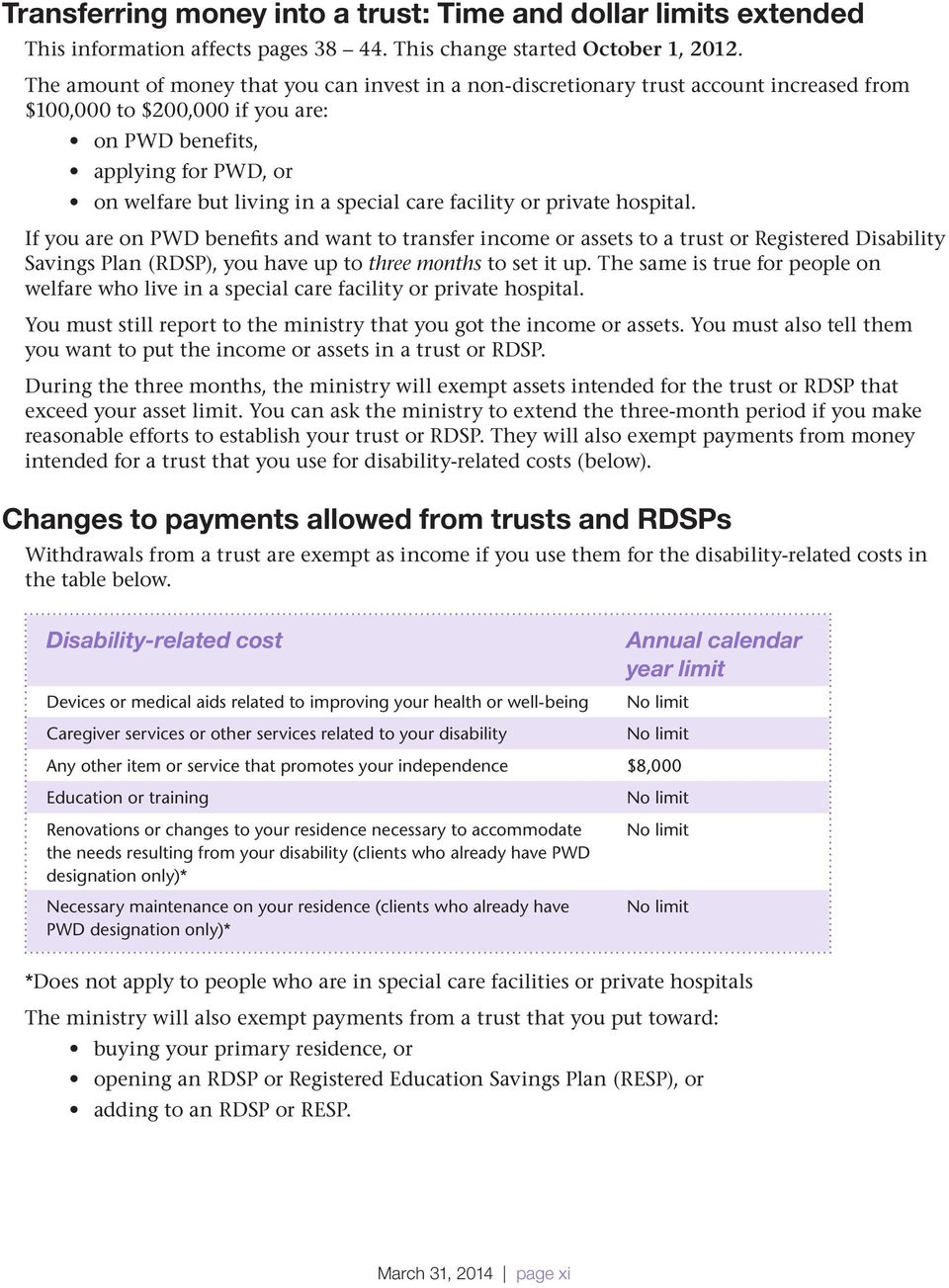 care facility or private hospital. If you are on PWD benefits and want to transfer income or assets to a trust or Registered Disability Savings Plan (RDSP), you have up to three months to set it up.
