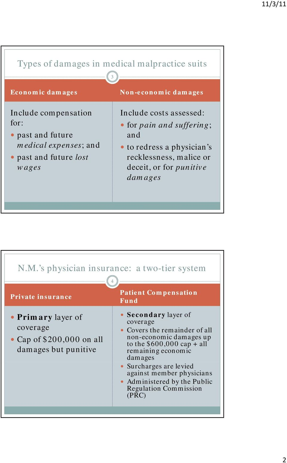 s physician insurance: a two-tier system 4 Private insurance Primary layer of coverage Cap of $200,000 on all damages but punitive Patient Compensation Fund Secondary layer of