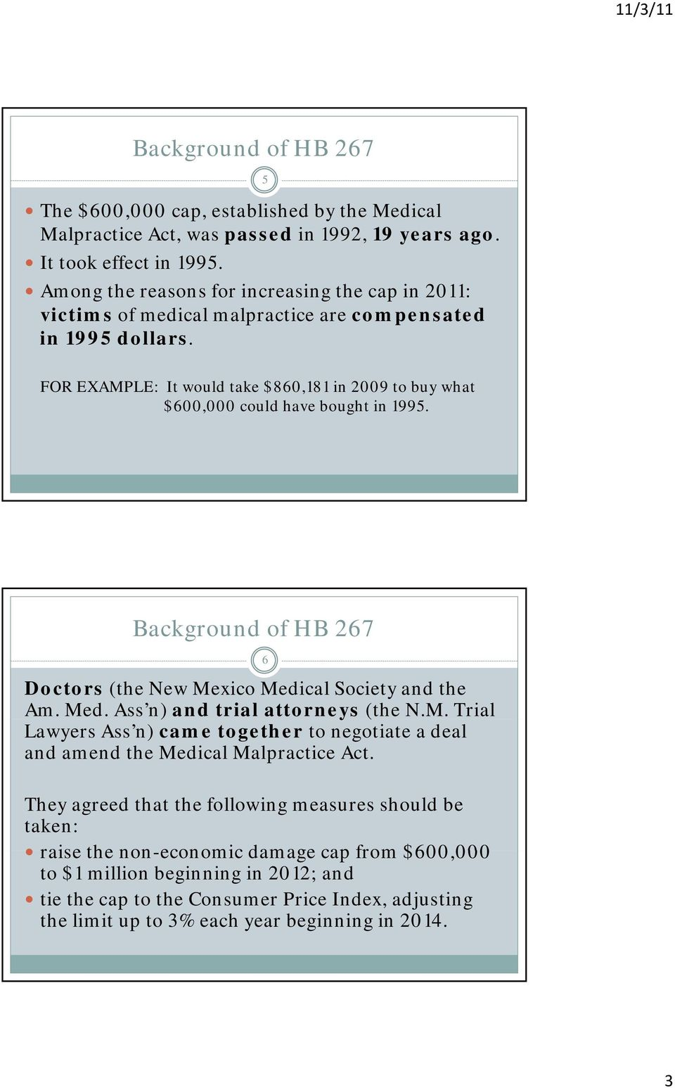 5 FOR EXAMPLE: It would take $860,181 in 2009 to buy what $600,000 could have bought in 1995. Background of HB 267 Doctors (the New Mexico Medical Society and the Am. Med. Ass n) and trial attorneys (the N.