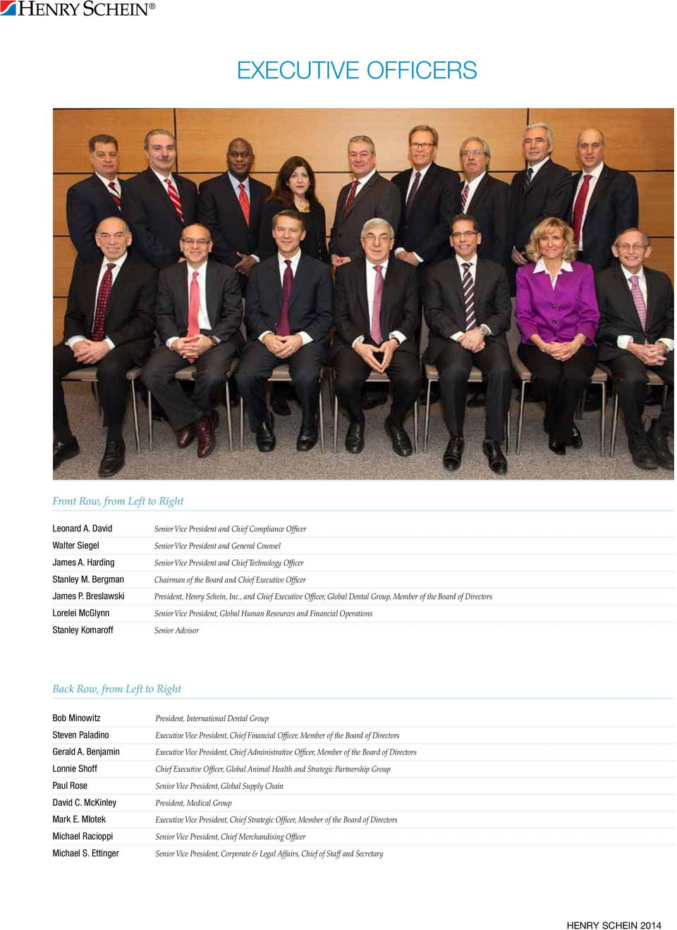 the Board and Chief Executive Officer President, Henry Schein, Inc.
