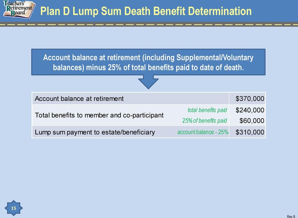 Account balance at retirement $370,000 Total benefits to member and co-participant total