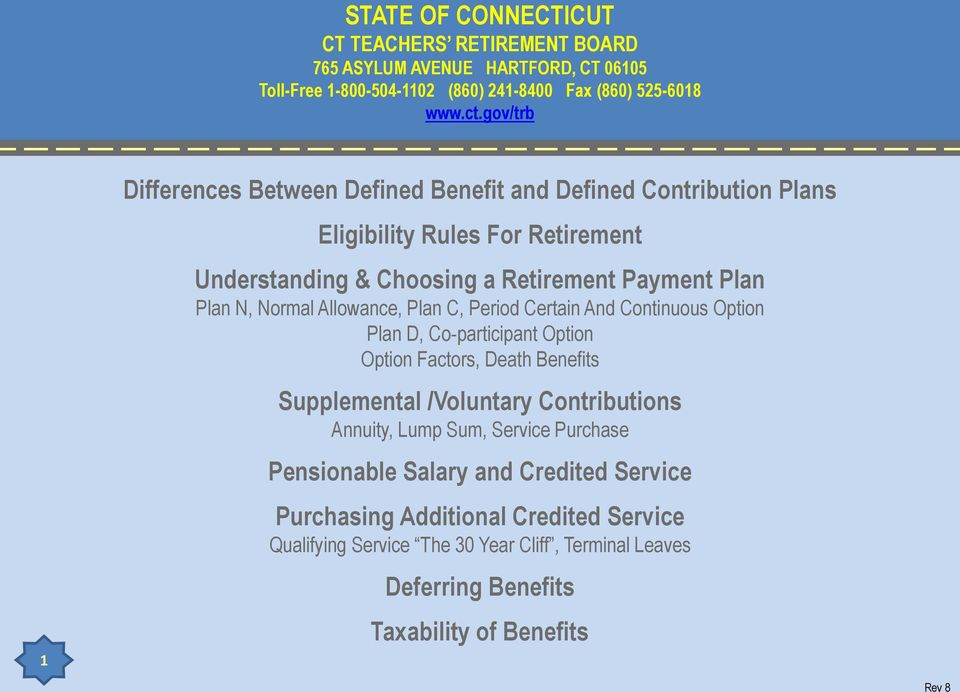 Normal Allowance, Plan C, Period Certain And Continuous Option Plan D, Co-participant Option Option Factors, Death Benefits Supplemental /Voluntary Contributions Annuity,