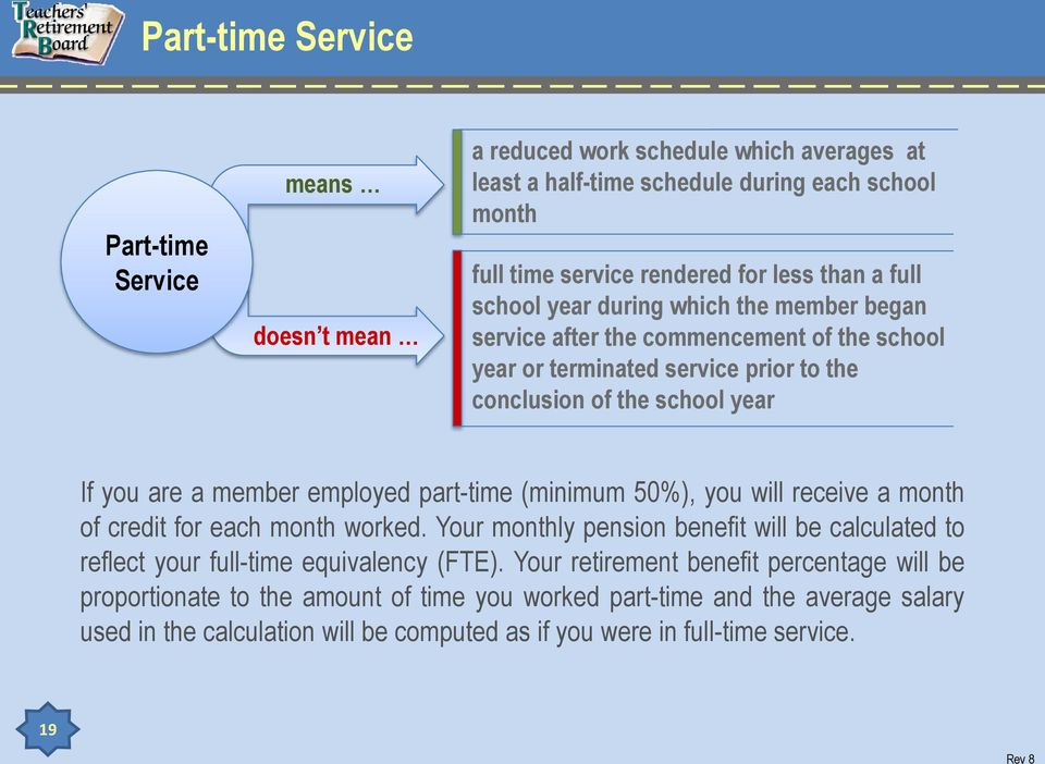 employed part-time (minimum 50%), you will receive a month of credit for each month worked. Your monthly pension benefit will be calculated to reflect your full-time equivalency (FTE).