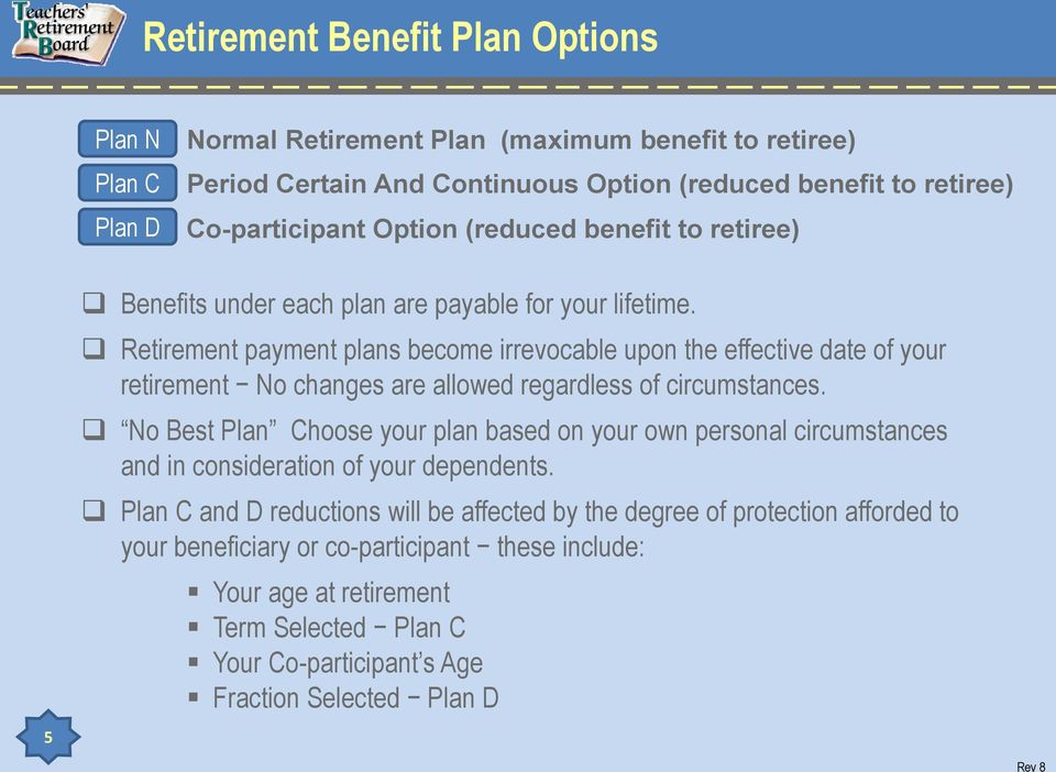 Retirement payment plans become irrevocable upon the effective date of your retirement No changes are allowed regardless of circumstances.