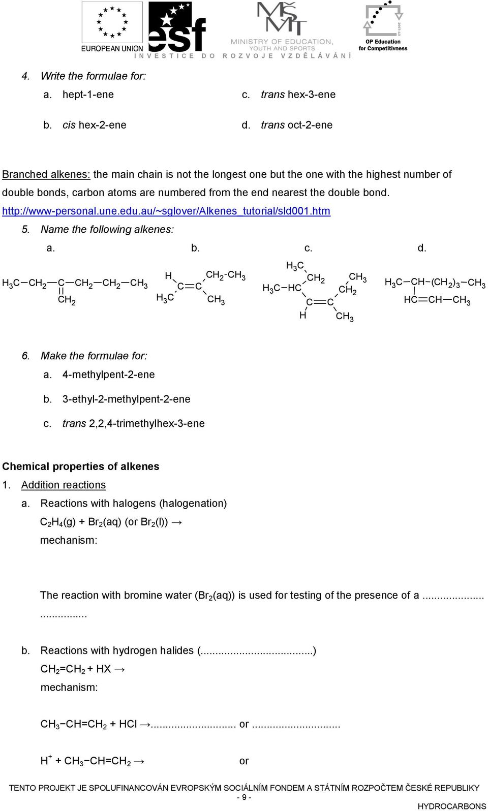 http://www-personal.une.edu.au/~sglover/alkenes_tutorial/sld001.htm 5. Name the following alkenes: a. b. c. d.