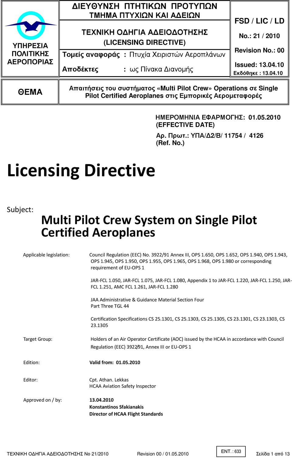 Licensing Directive Ref No Subject Multi Pilot Crew System On