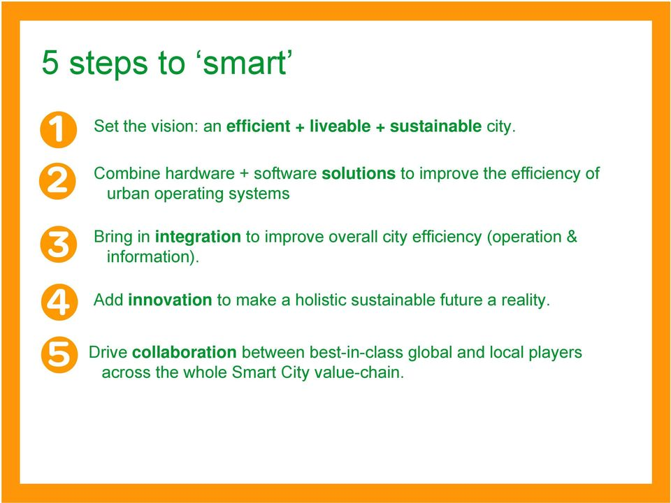 integration to improve overall city efficiency (operation & information).