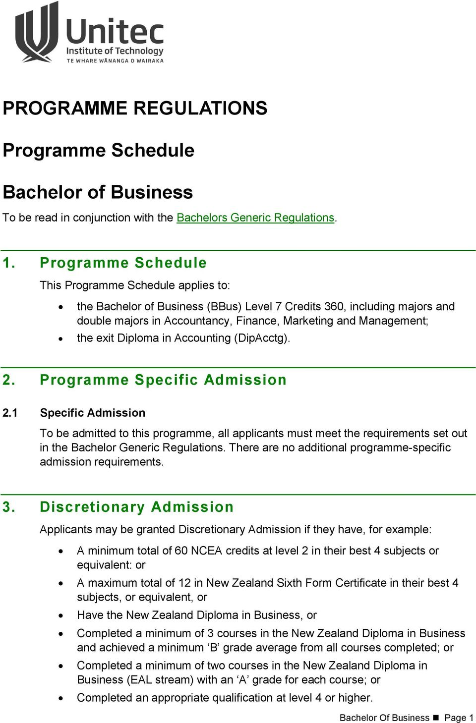 programme regulations. programme schedule. bachelor of business. 1
