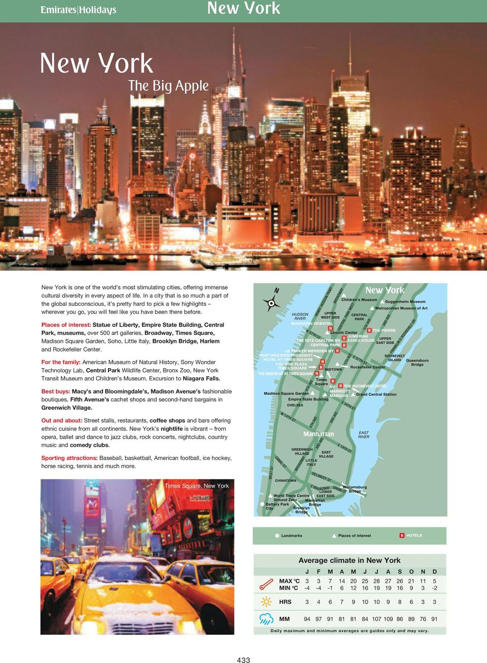 Places of interest: Statue of Liberty, Empire State Building, Central Park, museums, over 500 art galleries, Broadway, Times Square, Madison Square Garden, Soho, Little Italy, Brooklyn Bridge, Harlem