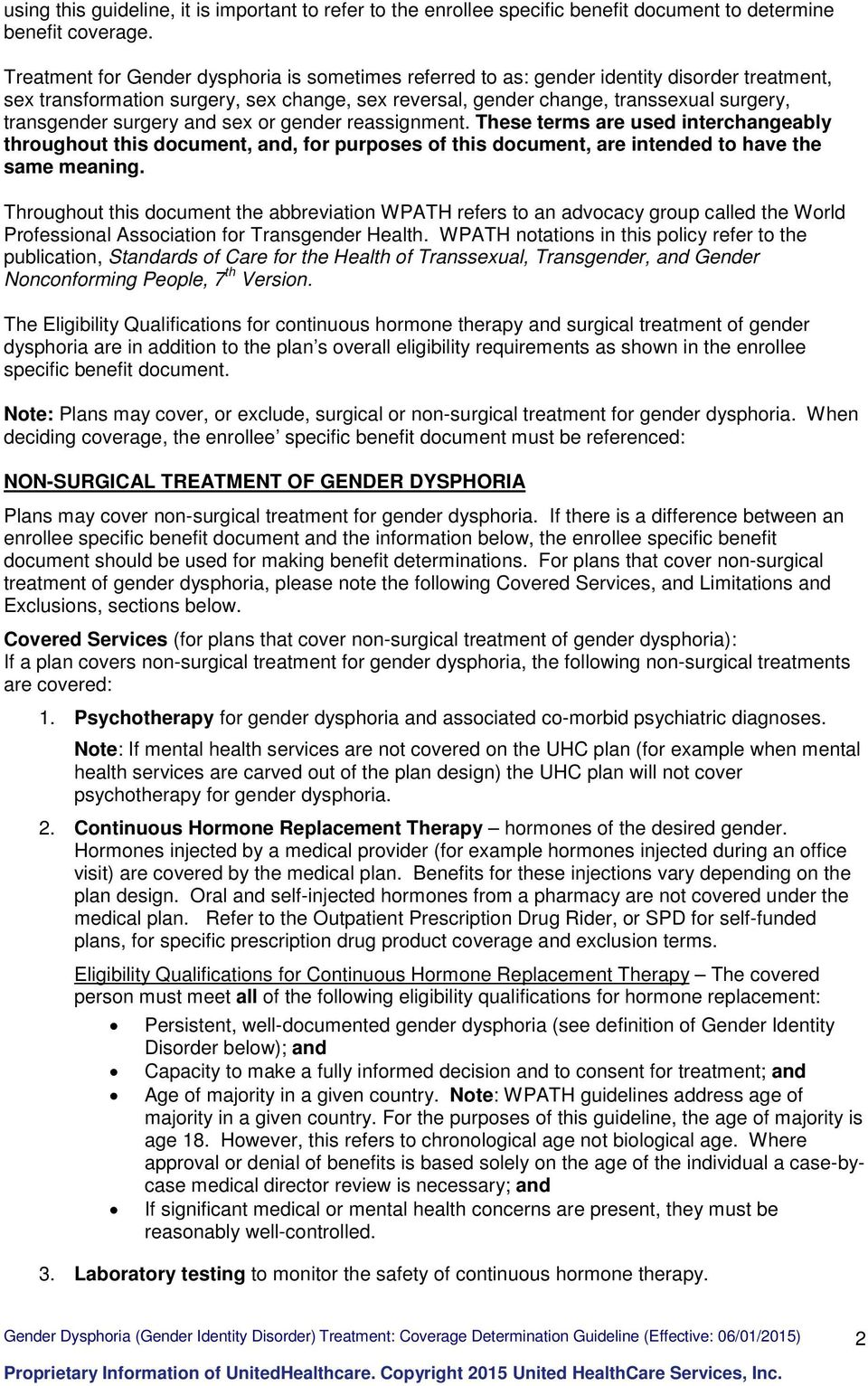 Standards of care for the health of transsexual surgery
