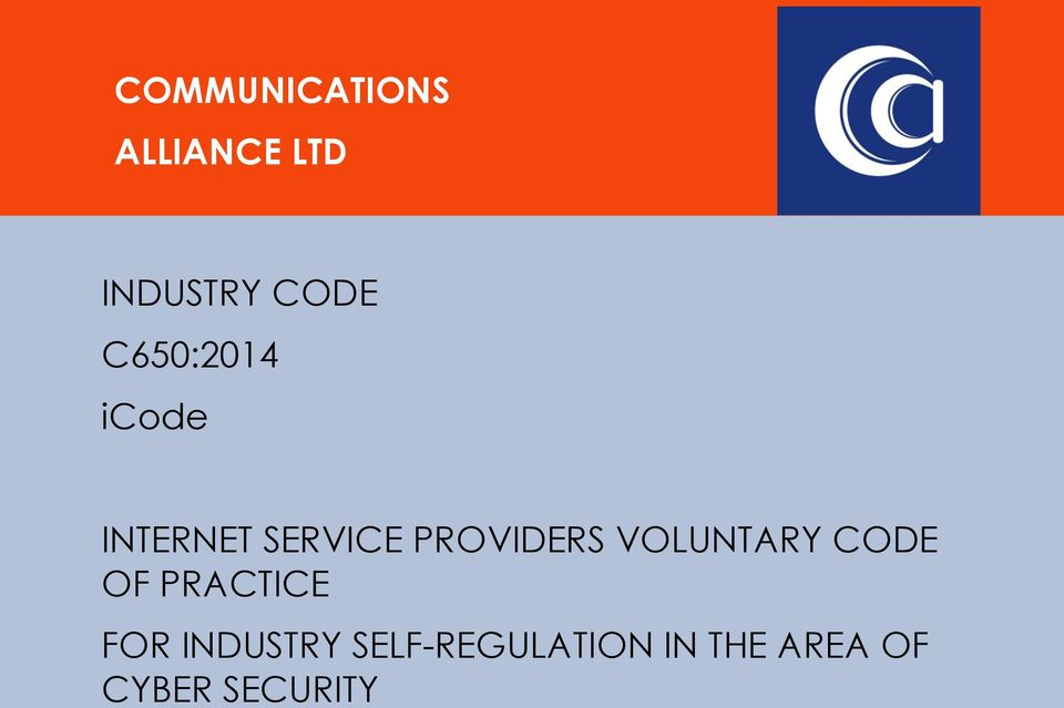 VOLUNTARY CODE OF PRACTICE FOR INDUSTRY