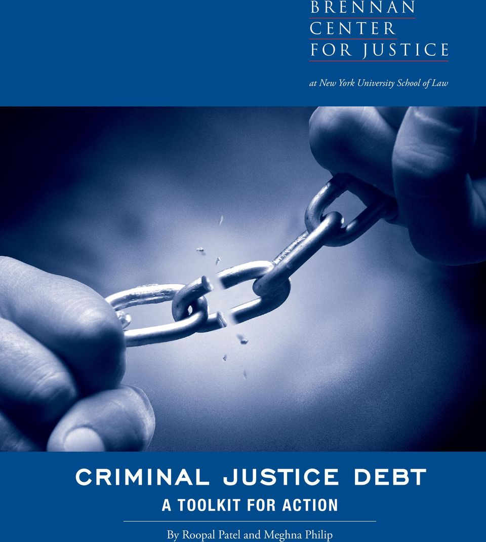Criminal Justice Debt A Toolkit
