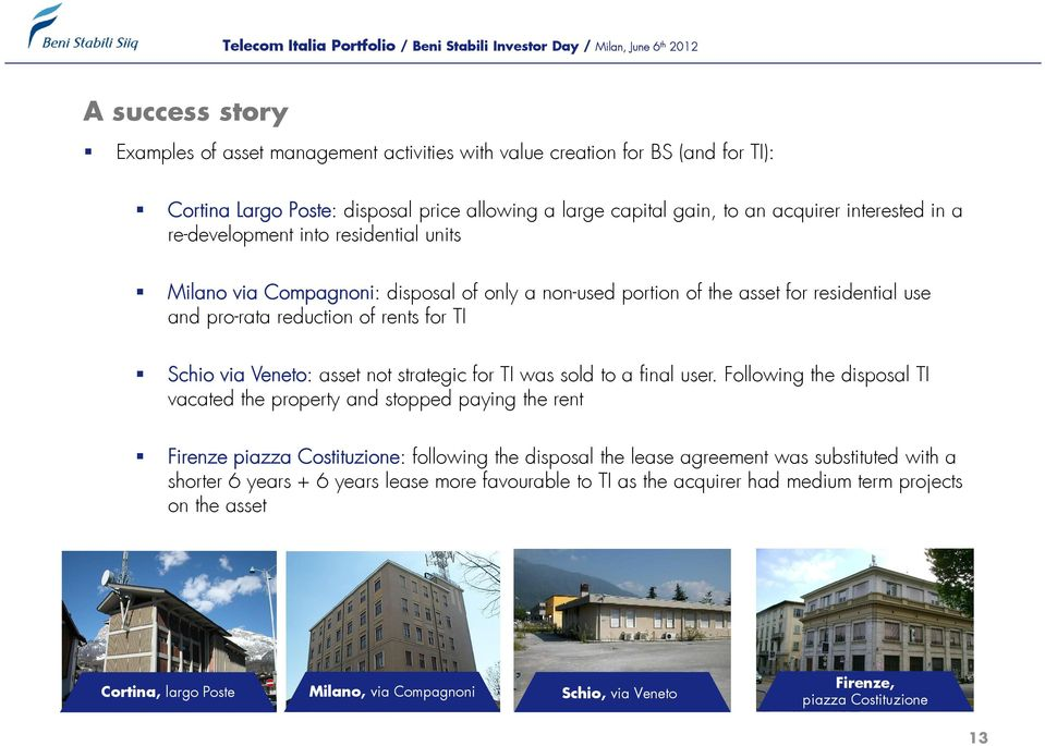 for TI Schio via Veneto: asset not strategic for TI was sold to a final user.