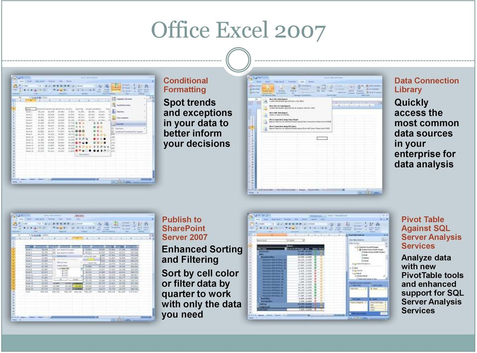 Server 2007 Enhanced Sorting and Filtering Sort by cell color or filter data by quarter to work with only the data you need