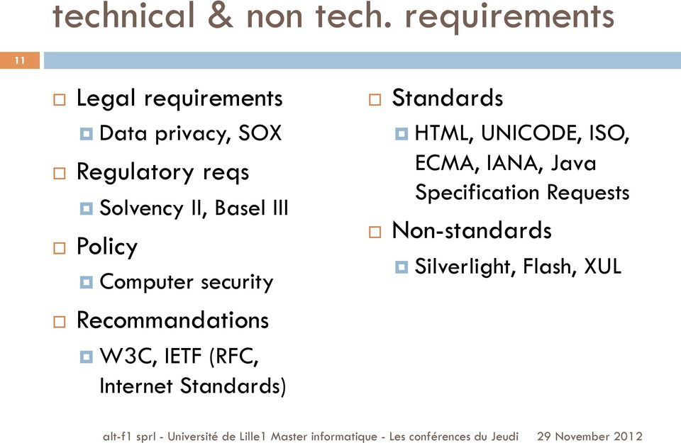 Solvency II, Basel III Policy Computer security Recommandations W3C, IETF