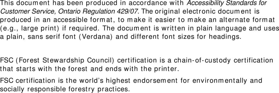 The document is written in plain language and uses a plain, sans serif font (Verdana) and different font sizes for headings.